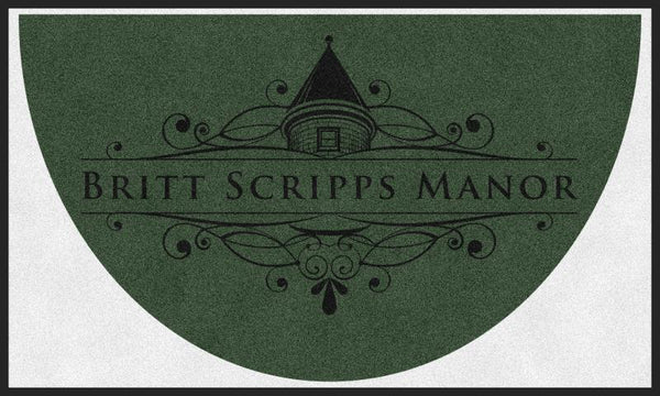 BRITT SCRIPPS MANOR (L6) 3 X 5 Rubber Backed Carpeted HD Half Round - The Personalized Doormats Company