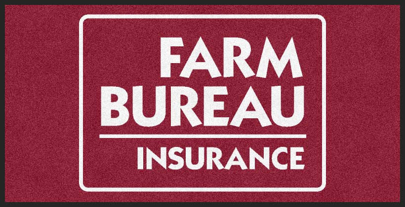 Farm Bureau Insurance 2 X 4 Rubber Backed Carpeted HD - The Personalized Doormats Company