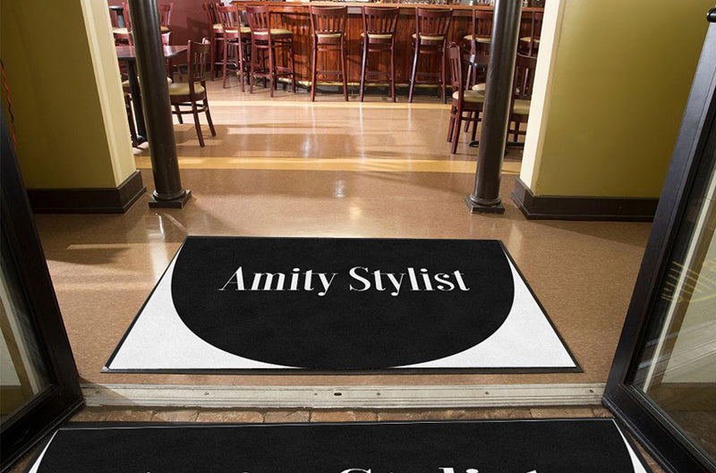 Amity Stylist 4 X 6 Rubber Backed Carpeted HD Half Round - The Personalized Doormats Company