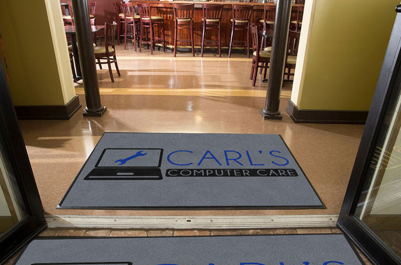Carl's Computer Care 4 X 6 Rubber Backed Carpeted HD - The Personalized Doormats Company