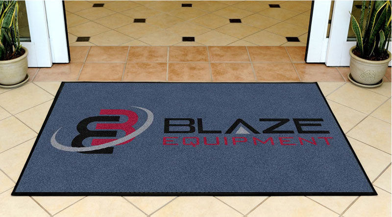 Blaze Equipment logo 3 X 5 Rubber Backed Carpeted HD - The Personalized Doormats Company