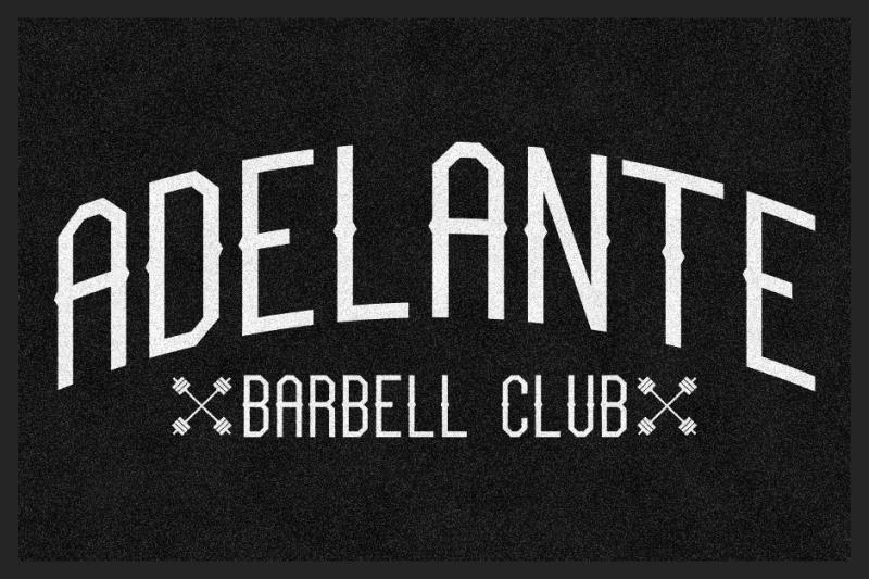Adelante Barbell Club 2 X 3 Rubber Backed Carpeted HD - The Personalized Doormats Company