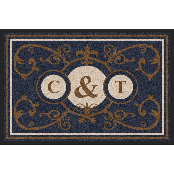 Estate Doormat Formal 3 Letter Monogrammed Suede Estate - The Personalized Doormats Company