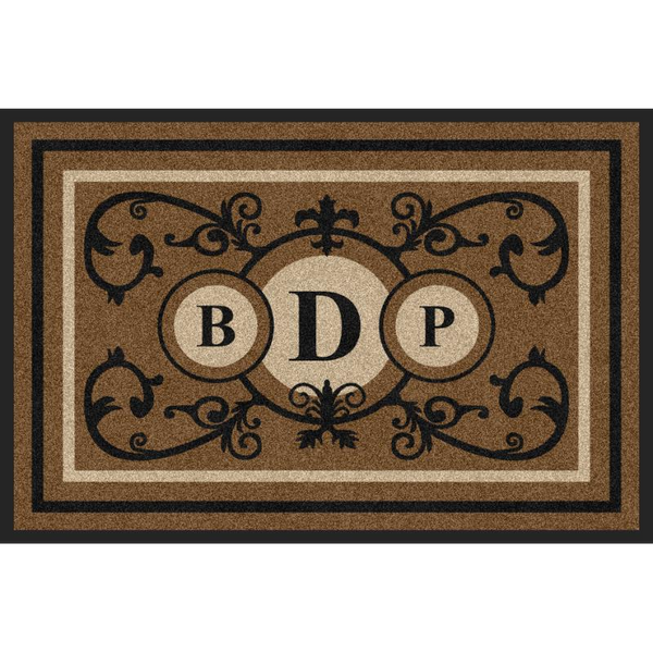 Estate Doormat Formal 3 Letter Monogrammed Black & Suede Estate - The Personalized Doormats Company