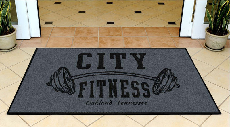 City Fitness 3 X 5 Rubber Backed Carpeted HD - The Personalized Doormats Company