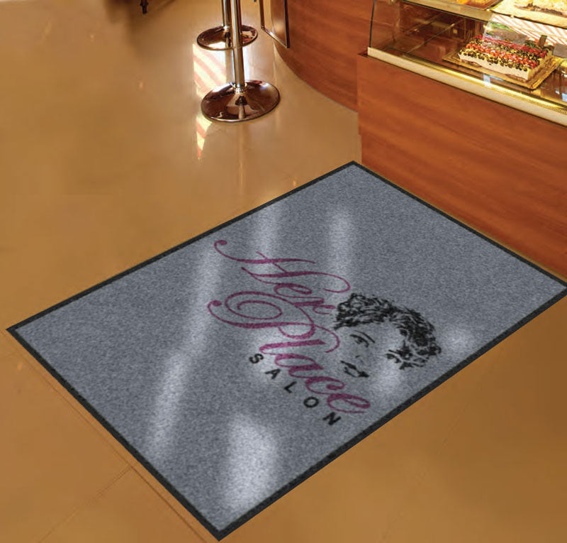 Her Place Salon 3 X 5 Rubber Backed Carpeted HD - The Personalized Doormats Company
