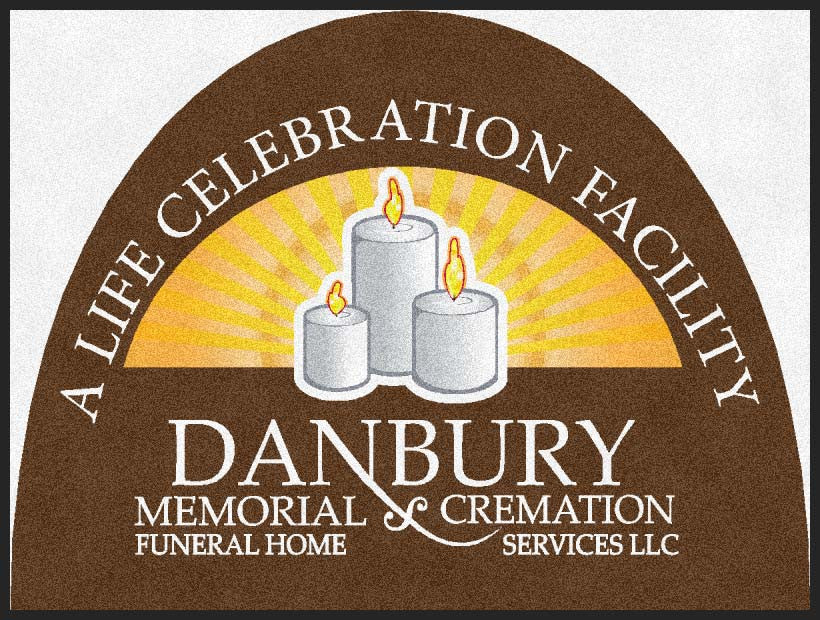 Danburymemorial F.H & Cremation 3 X 4 Rubber Backed Carpeted HD Half Round - The Personalized Doormats Company
