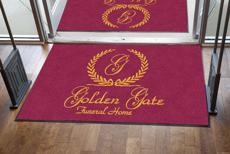 GOLDEN GATE FUNERAL HOMES 4 X 6 Rubber Backed Carpeted HD - The Personalized Doormats Company