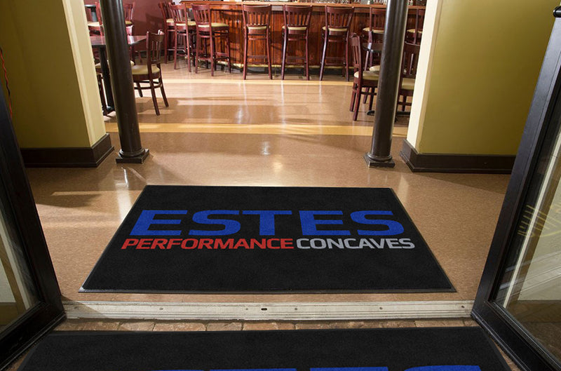 Black Mat - Estes_Blue_Performance_Red_C 4 X 6 Rubber Backed Carpeted HD - The Personalized Doormats Company
