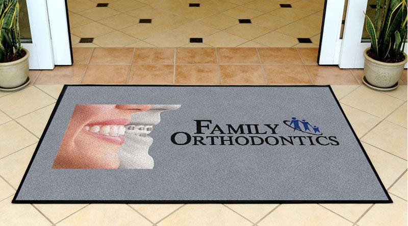 Family Orthodontics 3 x 5 Rubber Backed Carpeted HD - The Personalized Doormats Company