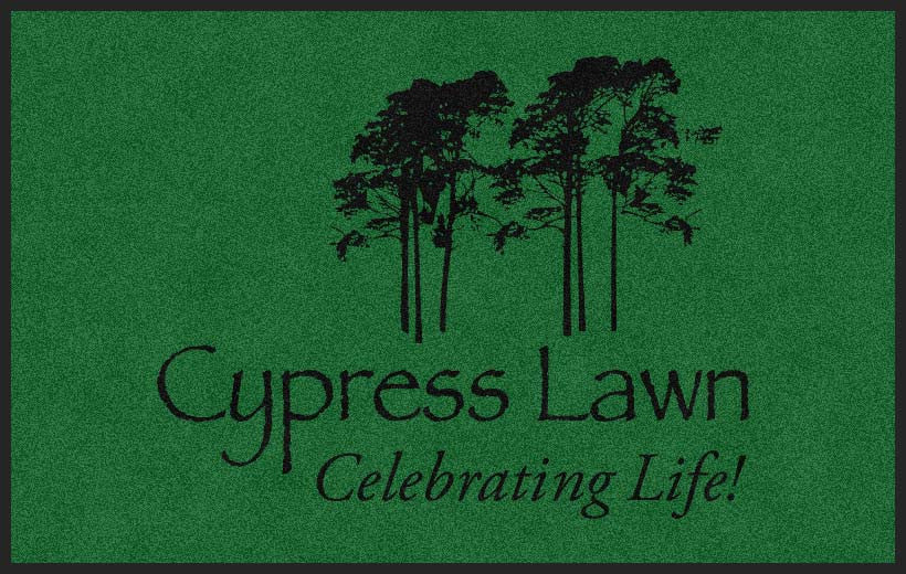 Cypress Lawn Cemetery 5 X 8 Rubber Backed Carpeted HD - The Personalized Doormats Company