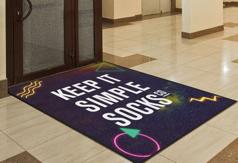Keep it simple socks 80's 4 X 6 Rubber Backed Carpeted HD - The Personalized Doormats Company