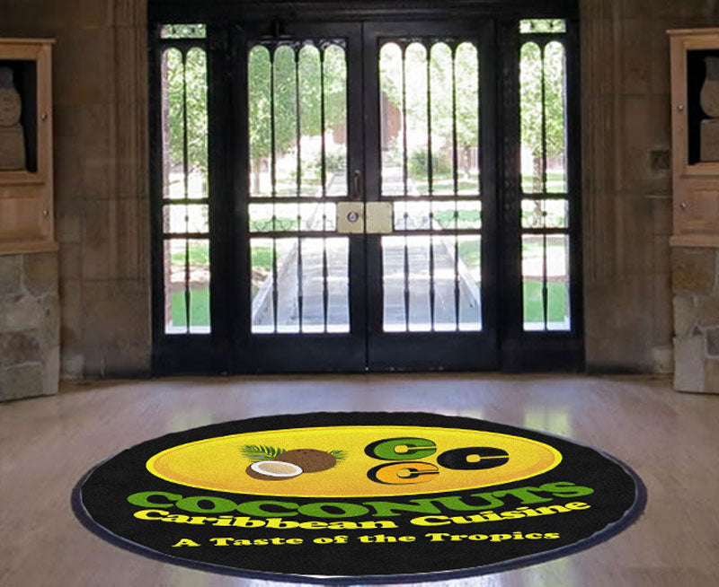 Coconuts Caribbean Cuisine 5 X 5 Rubber Backed Carpeted HD Round - The Personalized Doormats Company