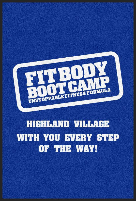 Highland Village Fit Bod Boot Camp 4 x 6 Rubber Backed Carpeted HD - The Personalized Doormats Company
