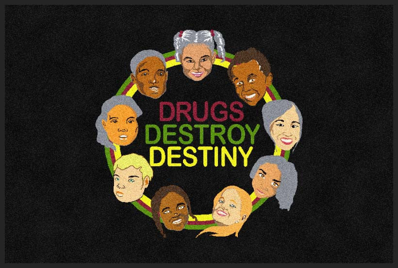 DRUGS DESTROY DESTINY 2 X 3 Rubber Backed Carpeted HD - The Personalized Doormats Company