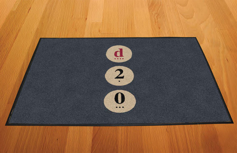 d20 Board Game Cafe 2 X 3 Rubber Backed Carpeted HD - The Personalized Doormats Company