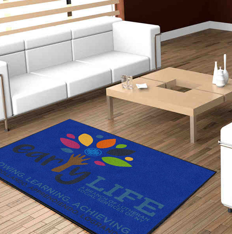 Early LIFE Logo Carpets 4 x 6 Custom Plush 30 HD - The Personalized Doormats Company