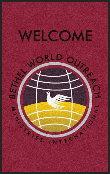 BETHEL WORLD OUTREACH MINISTRIES 5 x 8 Rubber Backed Carpeted HD - The Personalized Doormats Company