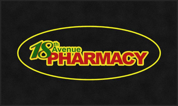18th Ave Pharmacy 6 X 10 Rubber Backed Carpeted - The Personalized Doormats Company