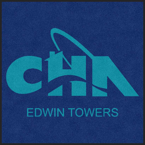 Edwin Towers 5 X 5 Rubber Backed Carpeted HD - The Personalized Doormats Company