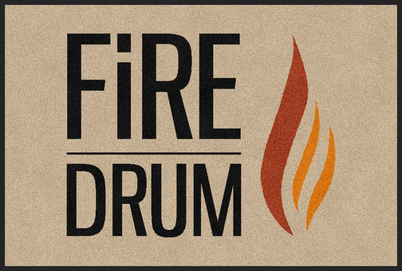 Fire drum 2 X 3 Rubber Backed Carpeted HD - The Personalized Doormats Company