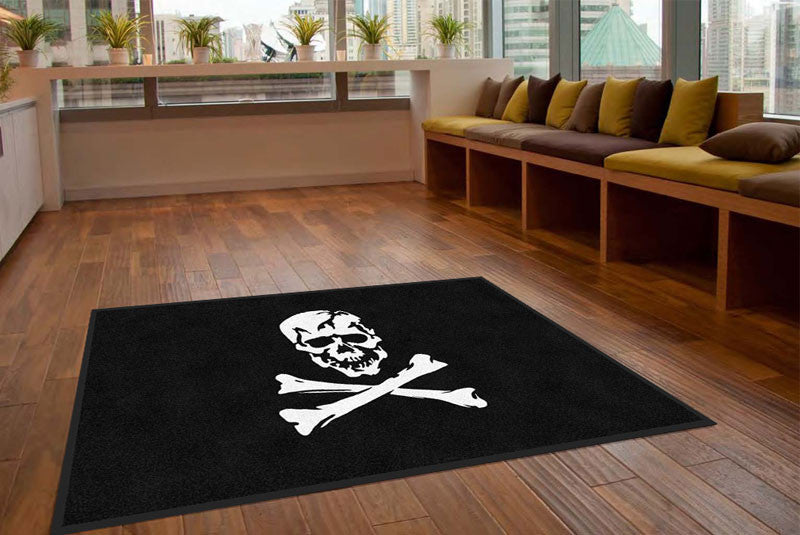 Jolly Roger flag 5 X 8 Rubber Backed Carpeted HD - The Personalized Doormats Company