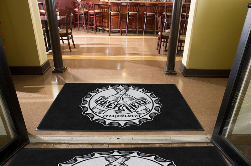 Beer here mat 4 X 6 Rubber Backed Carpeted HD - The Personalized Doormats Company