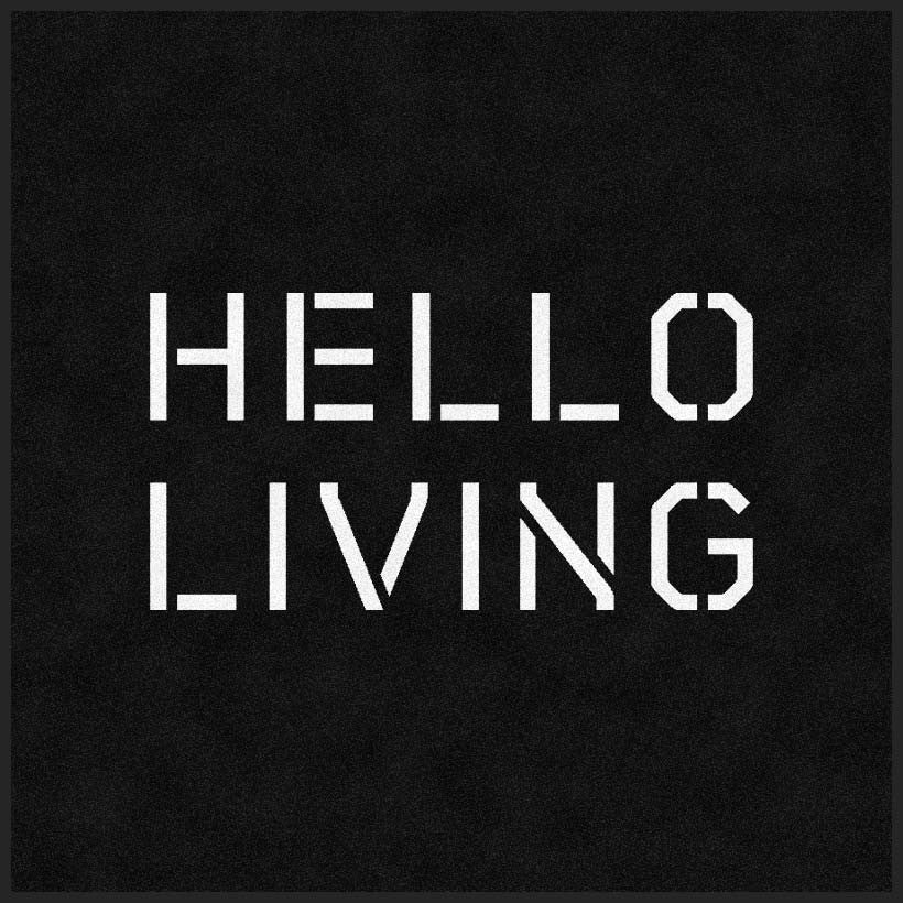 HELLO Living Logo 3 X 3 Rubber Backed Carpeted HD - The Personalized Doormats Company