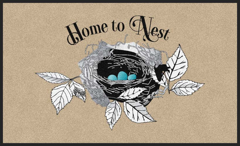 Home to Nest 3 X 5 Rubber Backed Carpeted HD - The Personalized Doormats Company