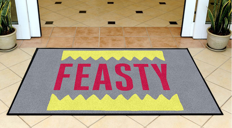 FEASTY 3 x 5 Rubber Backed Carpeted HD - The Personalized Doormats Company