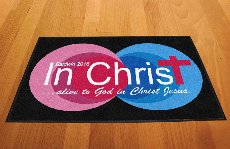 Baldwin church of Christ 2 X 3 Rubber Backed Carpeted HD - The Personalized Doormats Company