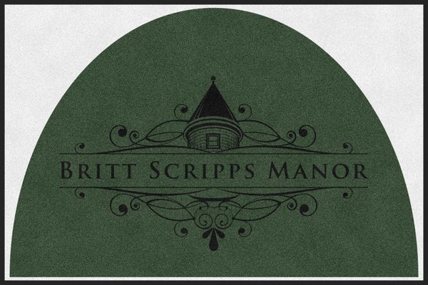 BRITT SCRIPPS MANOR (L6) 4 X 6 Rubber Backed Carpeted HD Half Round - The Personalized Doormats Company