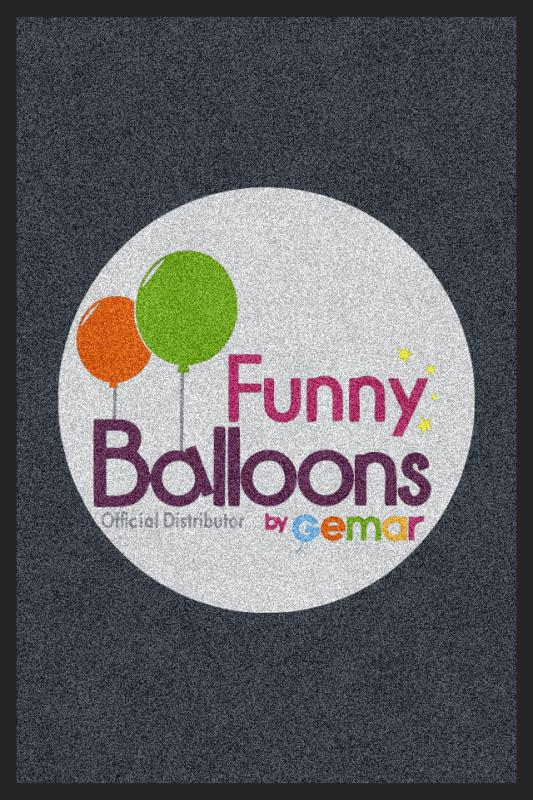 funny balloons 2 x 3 Rubber Backed Carpeted - The Personalized Doormats Company