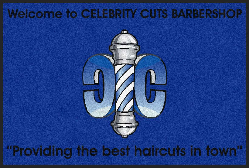 Celebrity Cuts Barbershop 4 X 6 Rubber Backed Carpeted HD - The Personalized Doormats Company