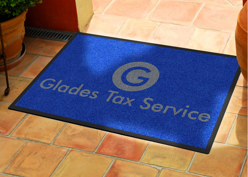 Glades Tax Service 2 X 3 Rubber Backed Carpeted HD - The Personalized Doormats Company
