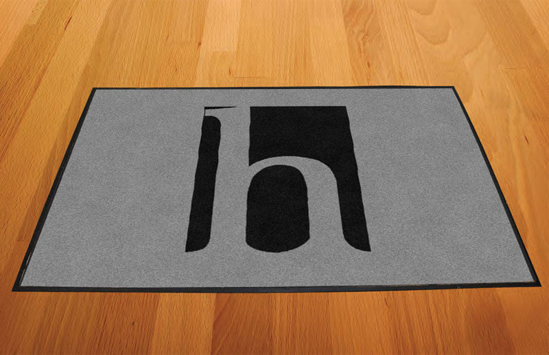 Huff Rubber Mat Black Logo on Silver 2 X 3 Rubber Backed Carpeted - The Personalized Doormats Company