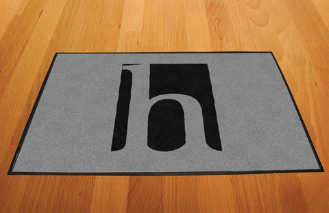 Huff Rubber Mat Black Logo on Silver