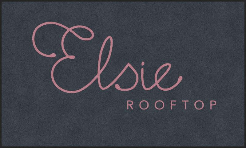 Elsie Rooftop Logo Mat 6 x 10 Rubber Backed Carpeted HD - The Personalized Doormats Company