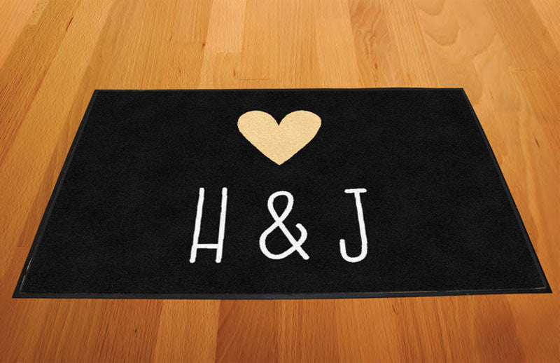 Hannah & Justin 2 X 3 Rubber Backed Carpeted HD - The Personalized Doormats Company