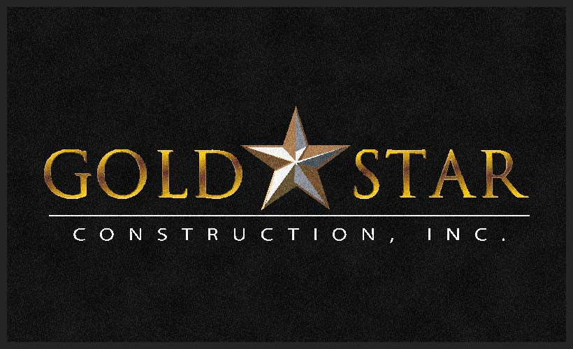 Gold Star Construction 3 X 5 Rubber Backed Carpeted HD - The Personalized Doormats Company