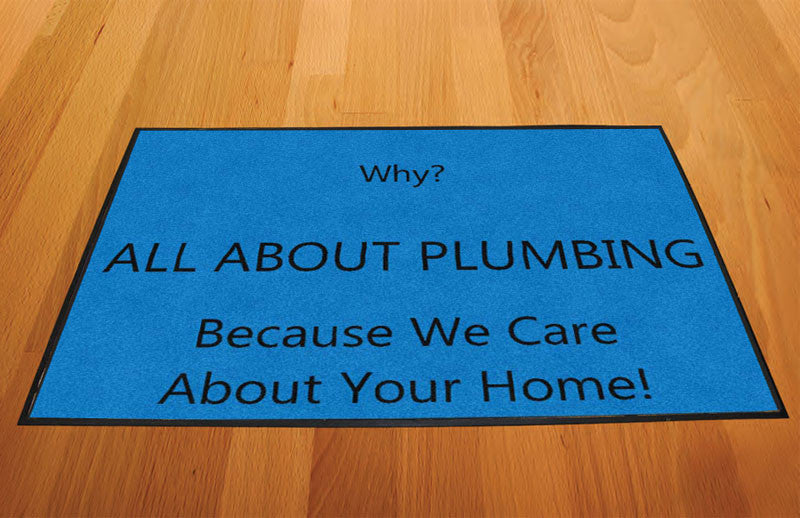 ALL ABOUT PLUMBING 2 x 3 Rubber Backed Carpeted HD - The Personalized Doormats Company