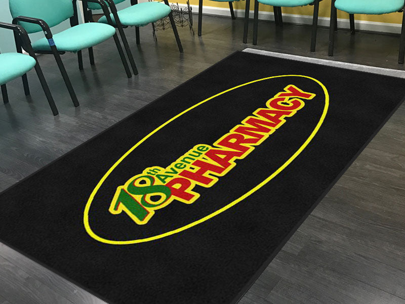 18th Ave Pharmacy 5 X 10 Rubber Backed Carpeted - The Personalized Doormats Company
