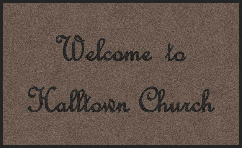 Halltown Church 3 x 5 Flocked Olefin 1 Color - The Personalized Doormats Company