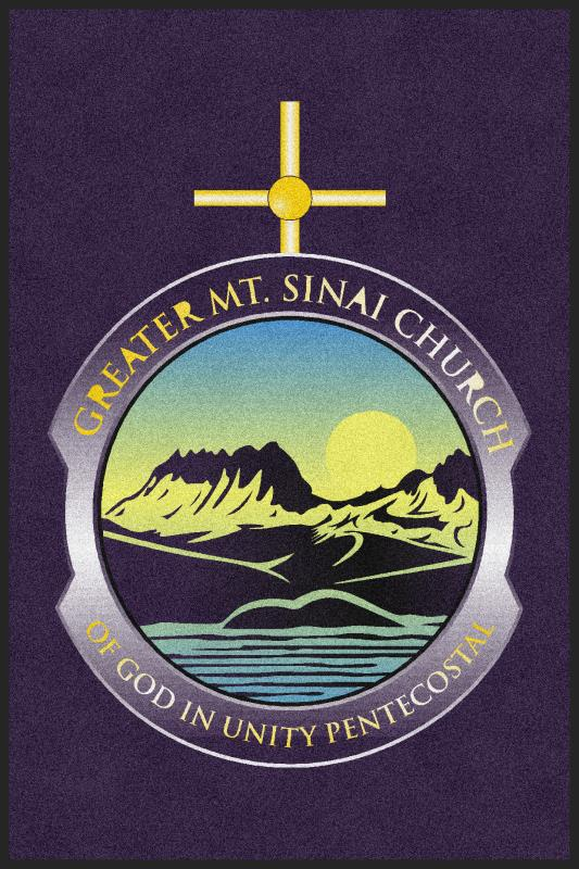 Greater MT. Sinai Church 4 X 6 Rubber Backed Carpeted HD - The Personalized Doormats Company