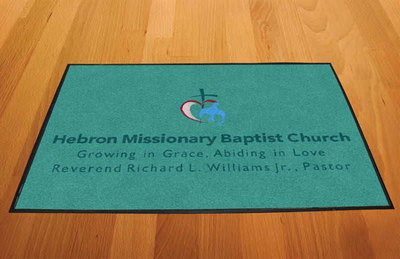 Hebron Missionary Baptist Church 2 X 3 Rubber Backed Carpeted HD - The Personalized Doormats Company