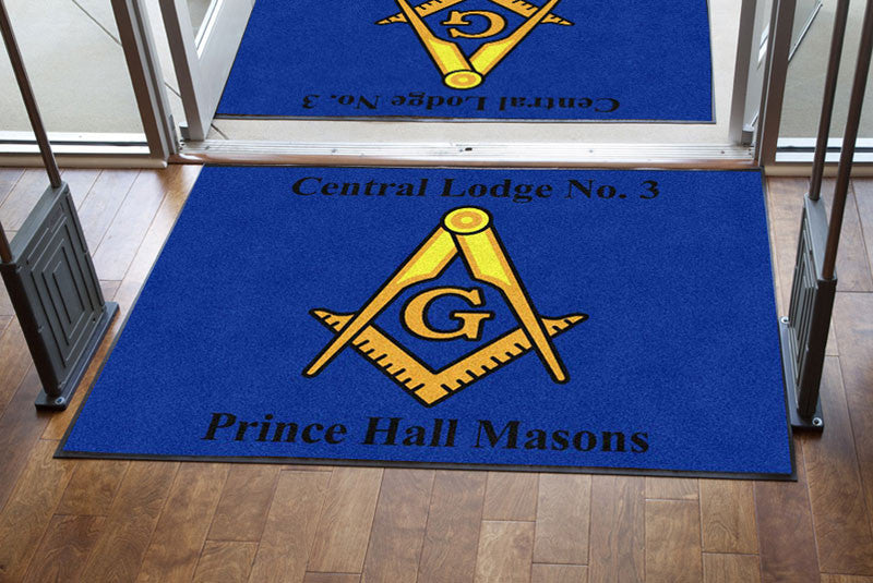 Central Lodge #3, Prince Hall Masons 4 X 6 Rubber Backed Carpeted HD - The Personalized Doormats Company