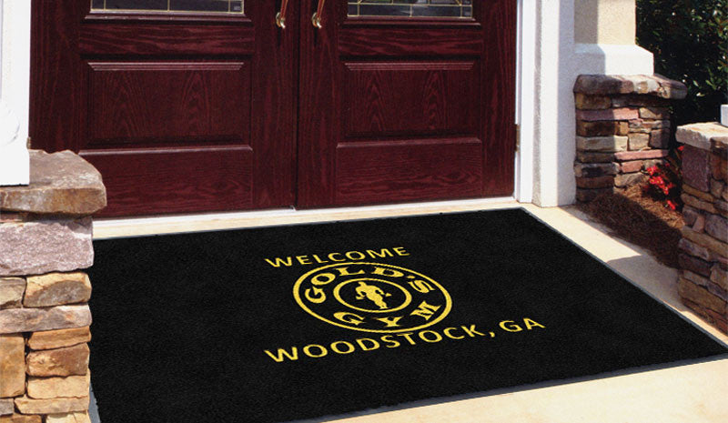 Circle Logo 4 x 6 Flocked Olefin 2 Color - The Personalized Doormats Company