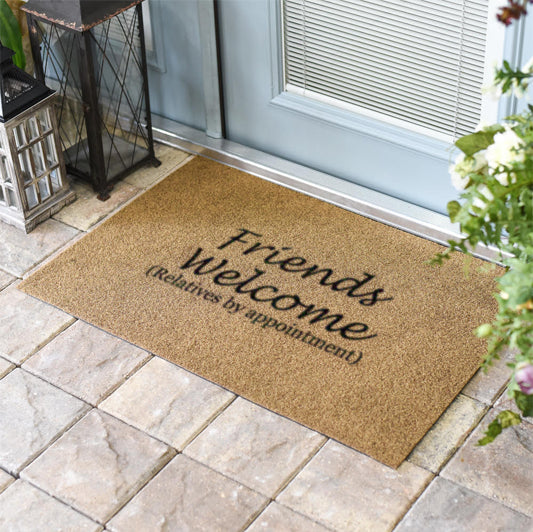 Friends welcome relatives by appointment Coir Doormat Classic Coir Funny Mat - The Personalized Doormats Company