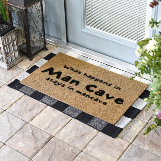 What Happens In The Man Cave, Stays In The Man Cave Coir Doormat