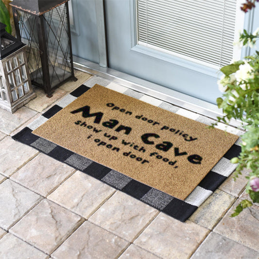 Man Cave Open Door Policy Coir Doormat